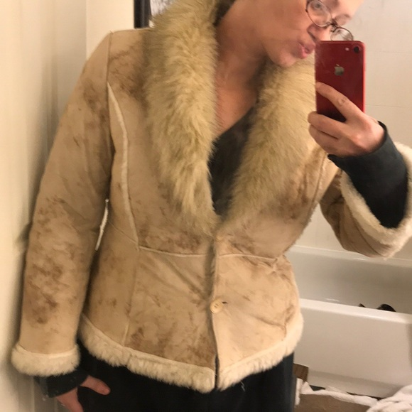 Jackets & Blazers - Faux Suede and Shearling Coat EUC